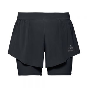Odlo 2-in-1 Shorts - Womens - Black/Silver Grey