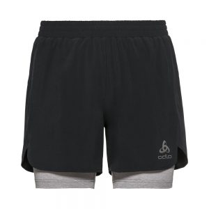 Odlo 2-in-1 Shorts Millenium Linencool Pro - Mens Black/Grey Melange
