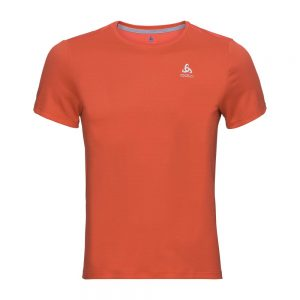 Odlo base layer top crew neck s/s Ceramicool - Mens - Paprika